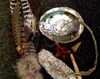 Beaded Ceremonial Feather Smudge Fan with Fox Fur & Crystal Quartz Large Kit + Sweetgrass
