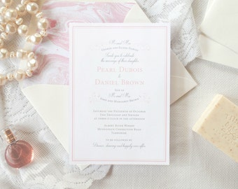 Print-It-Yourself French Inspired Wedding Invitations, Classic Wedding Invitations -- Pearl