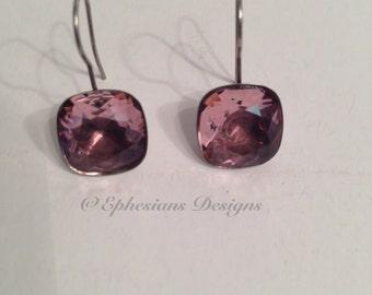 Rose Pink Swarovski Element Earrings