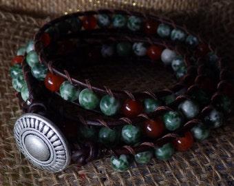Three wrap leather bracelet