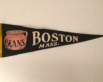 Vintage Boston Beans, Boston Massachusetts, USA Pennant Flag