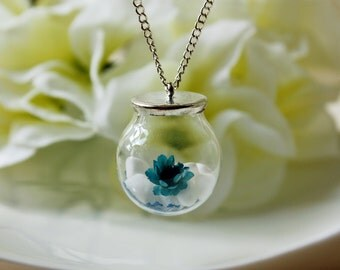 Orb / necklace / blue white/ Porcelain, Dried Flowers, Real Flower Necklace, Pressed Flowers, Terrarium Necklace, Spring, Gift for her