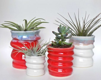 Handmade Ceramics - Colourful Pottery - Red and White - Cactus Succulent or Air Plants - Unique Birthday Gifts - Housewarming - Wedding Gift
