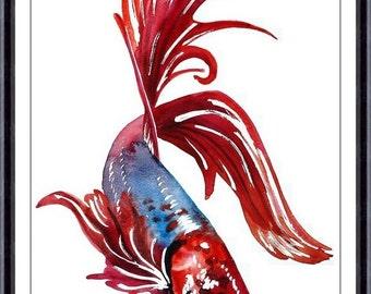 Fish Art Print,ORIGINAL Watercolor Fish Painting,Home decor ,Tara Tet (NO 180)