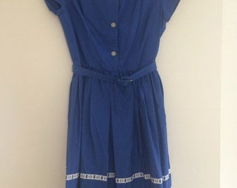 1950s blue cotton dress