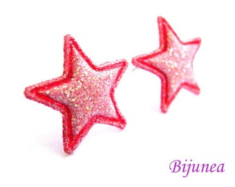 Star earrings - Pink Star studs - Star sky- Stars - Cute Star earrings - Star post earrings - Star stud earrings sf239