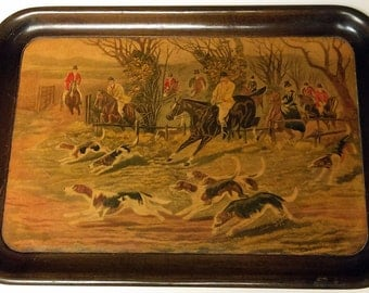 """Vintage 1950's  Social Supper Horse & Hounds Wooden Tray 16"""" x 11"""""""