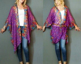 Purple Boho Tunic Swimsuit Cover Floral Print Sheer Gauze Cotton Fabric Duster Caftan Kimono Top Cardigan Onesize SML Plus Size