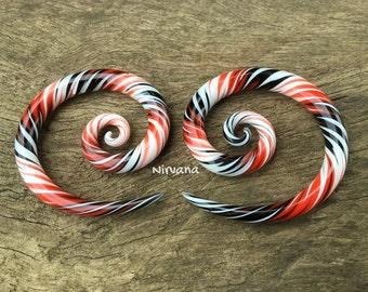 "Black, Red & White Free Style Super Spirals Glass 6g 4g 2g 0g 00g 7/16"" 1/2"" 9/16"" 5/8"" 4 mm 5 mm 6 mm 8 mm 10 mm - 16 mm"