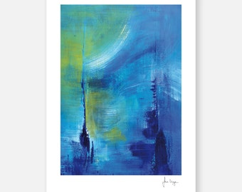 Fine art print abstract art / painting, signed BLUE MOON by Irina Meye
