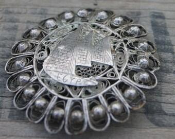 Silver Metal Filigree Vintage Brooch