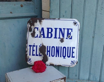 The best French antique bombe porcelain enamel call - phone -  box - street sign