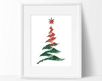 Christmas Tree Watercolor Art Print - Wall Art - Holiday Decor - Minimal Holiday
