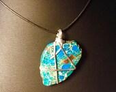 Terra Jasper Slice and Sterling Silver Necklace