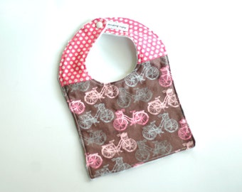 Pink Bicycle baby girl bib