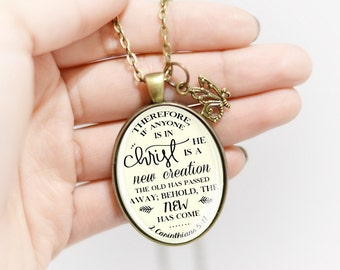 New Creation Pendant Scripture Necklace Oval Pendant Oval Necklace Quote Pendant Quote Necklace Inspirational Gift Christian Necklace
