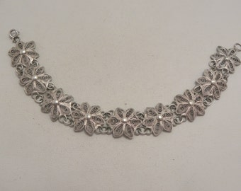 Vintage Silver Filigree Flower Link Bracelet