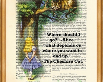 Alice in Wonderland. Where should I go? That depends on where you want to end up. DICTIONARY ART PRINT on Vintage Dictionary Page 10'' x 8''