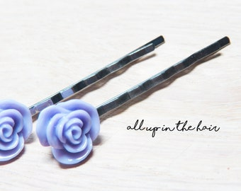 Purple Bobby Pins - Purple Rose Bobby Pins - Set of Two - Purple Bobby Pins - Purple Hair Pins - Rose Bobby Pins - Rose Hair Pins