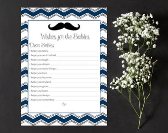 Navy and Silver Wishes for the Babies, Wishes for Baby Card, Well Wishes Moustache Mustache Instant Download PDF Printable