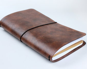 Leather Fauxdori - Travelers notebook - Fauxdori leather journal cover - brown leather notebook - refillable journal - leather sketchbook
