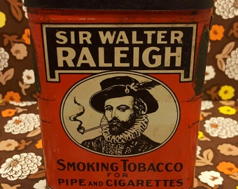 Antique Pocket Tabacco Tin / Sir Walter Raleigh / Cigarette and Pipe Tabacco Box