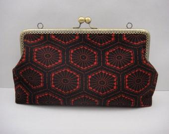 Kimono clutch, Japanese clutch, Kimono purse, Small purse, Black and red