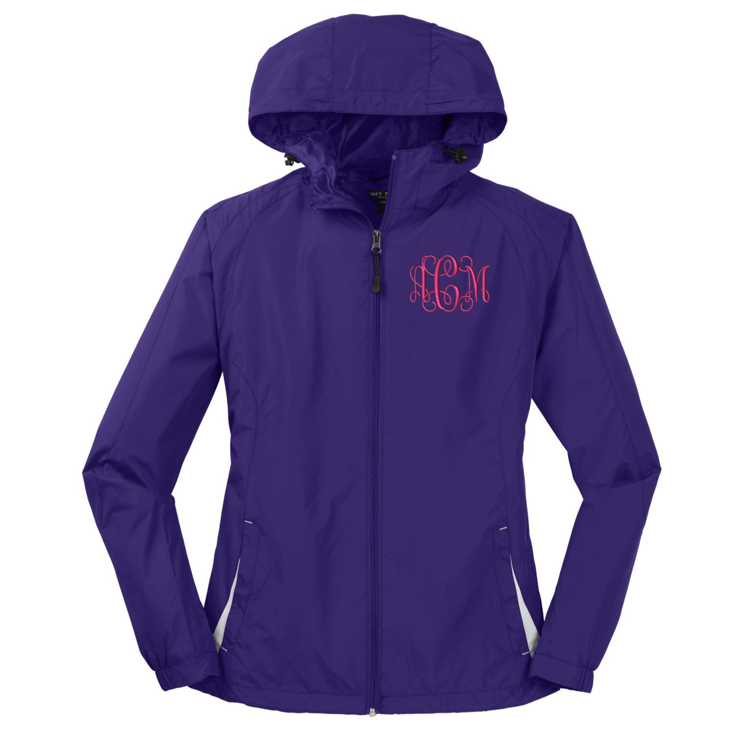 Monogrammed Ladies Hooded Rain Jacket Hooded Windbreaker