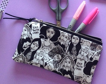 The GapToothGang Pencil Case   Illustrated Stationery   Back To School   Cosmetic Bag
