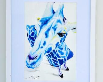 "Original Abstract Animal ""giraffe"" Print on fine art cotton paper - ""The Blueraffe""  - Modern style wall art by Aidan Weichard"