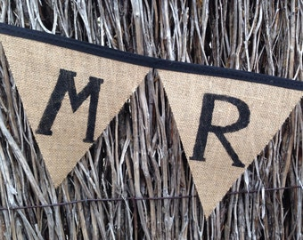 Handmade Mr & Mrs Burlap Bunting - 2m of flags to add a special touch to your magical day