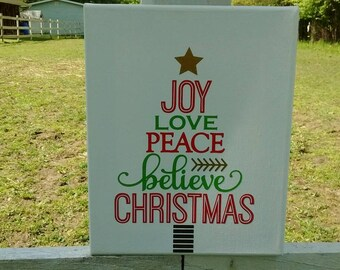 Joy Love Peace Christmas Tree Subway Art - 8 x 10 Canvas