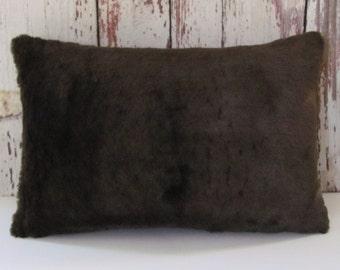 brown mink faux fur pillow