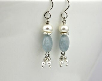BLUE SKIES Aquamarine, Pearl, and Sterling Silver Dangle Earrings - March birthstone birthday gift *