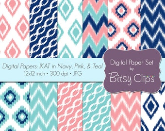 Ikat Digital Paper Set Scrapbook Paper in Navy, Pink, and Teal INSTANT DOWNLOAD