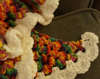 Shawlette; Multicolored Shawl; Scarf; Wrap; Rainbow Accessories
