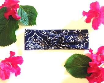 Blue headband, twist, turban headband, navy blue, knot headband, blue and white