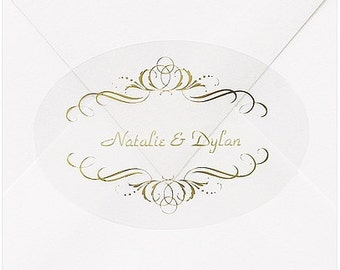 Personalized Gold Swirls Wedding Invitation Envelope Seals Stickers