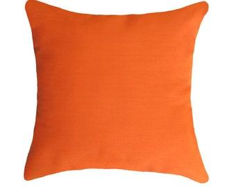 Orange Outdoor Pillow Covers, Throw Pillows, Decorative Pillow, Lumbar pillow, Orange Outdoor Cushions 18x18, 20x20, 22x22, 24x24, 26x26