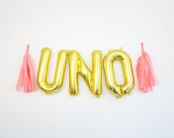 UNO balloons - gold mylar foil letter balloon banner kit