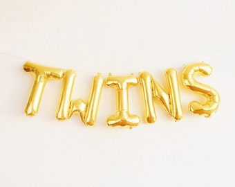 TWINS balloons - gold mylar foil letter balloon banner kit