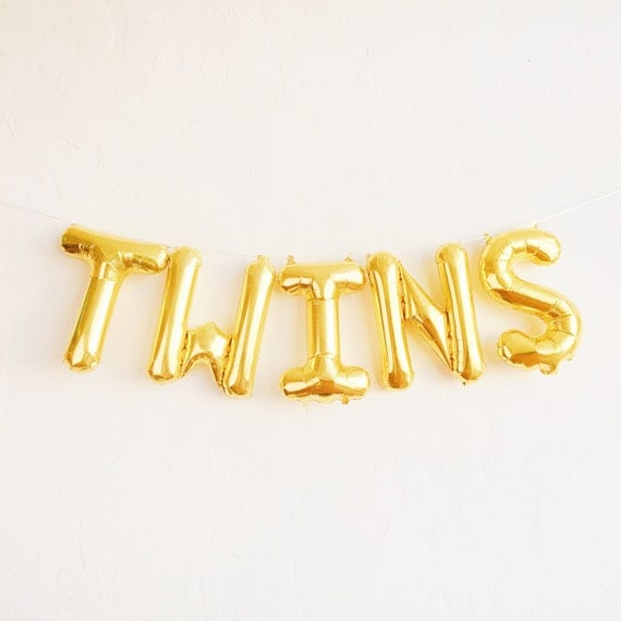 twins balloons gold mylar foil letter balloon banner kit
