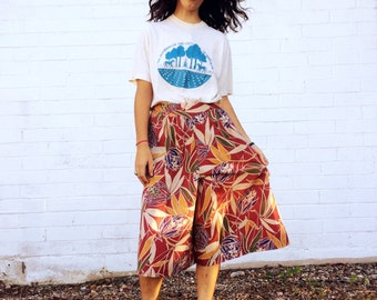 1990's Light Floral Tropical Red Motif Culottes