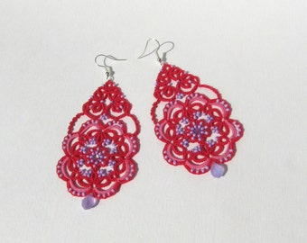 Dark pink earrings with purple beads , long tatted earrings, lace earrings, tatting jewelry, summer earrings, lace jewery,  tatted lace