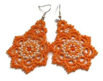Lace Earrings Оrange Earrings  Tatted  Boho Beaded Earrings Jewelry Womens gift Dangle earrings Summer earrings Chandelier Earrings