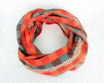 Orange Infinity Scarf - Infinity Scarves for Women - Woven Scarves - Plaid Scarf - Orange Blue Scarf - Orange Infinity Scarf 6070