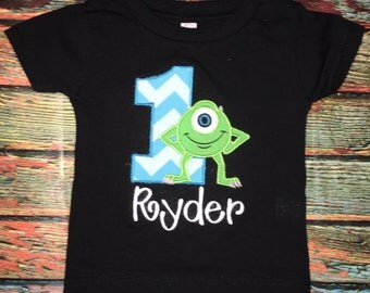Custom Embroidered Mike Wazowski Monster's Inc Birthday Shirt