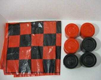 Vintage Large Checker Set Soft Plastic