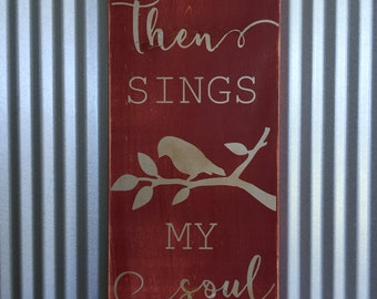 Then Sings My Soul, Wooden Sign, Wall Decor, How Great Thou Art, Religious Art, Hymn Sign