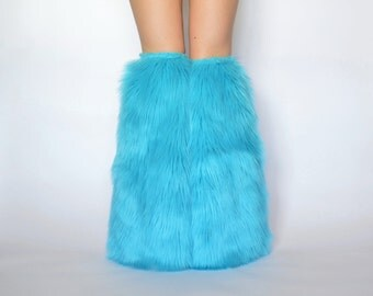 Sky Blue Rave Fluffies, Turquoise Boot Covers FREE SHIPPING : Handmade Fur Leg Warmers, Turquoise Rave Fluffies, Sky Blue Boot Covers